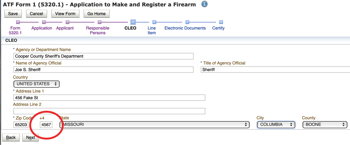 Does the CLEO on the eForm 1 Require the +4 For the CLEO's Mailing Address?