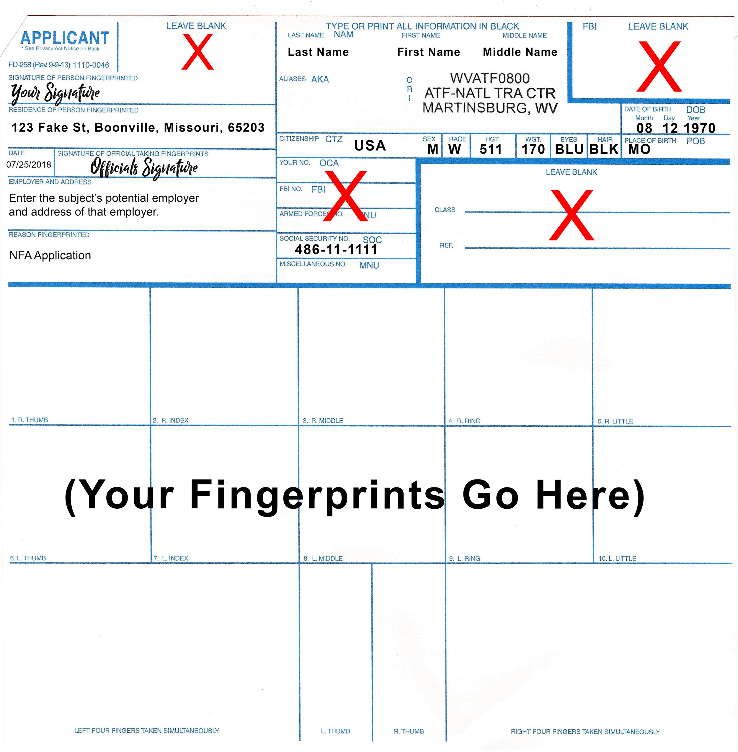 Filled out FD-258 Fingerprint Card Example