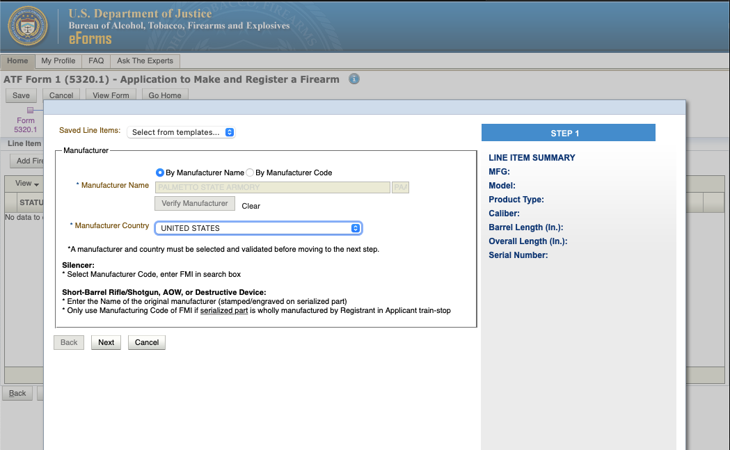 """How to See if a Firearm is """"Already Researched"""" on ATF eForms Website - Step 5a"""