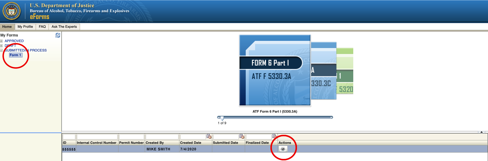 How to Find a Missing Cover Sheet on the ATF's eForm Website - Step 1