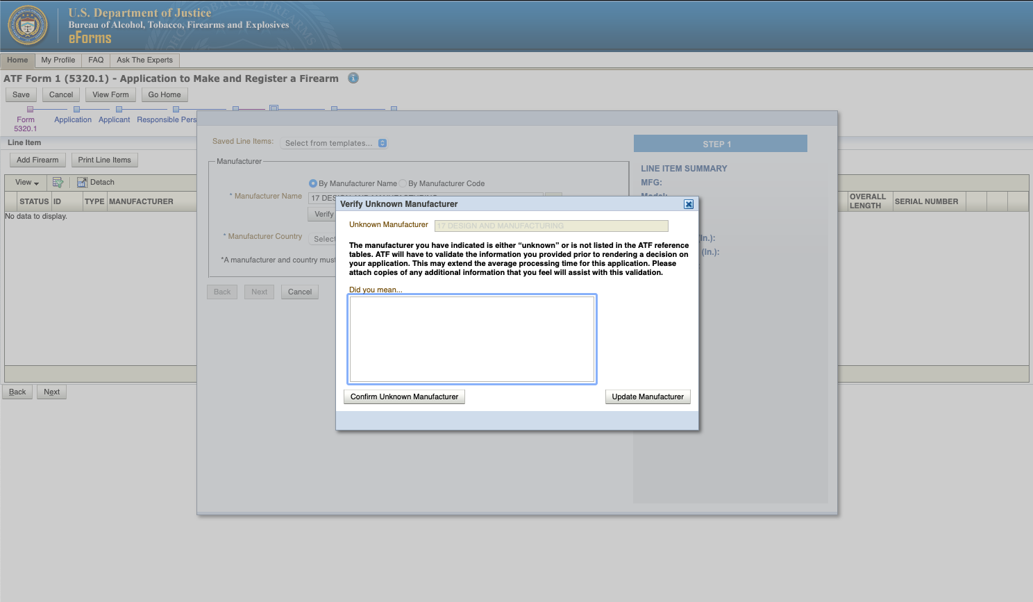 What to Do If Your Manufacturer is Unknown on Your eForm 1 Application