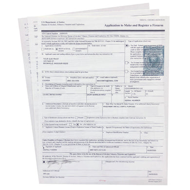 Approved ATF eForm 1 Tax Stamp Printing Service