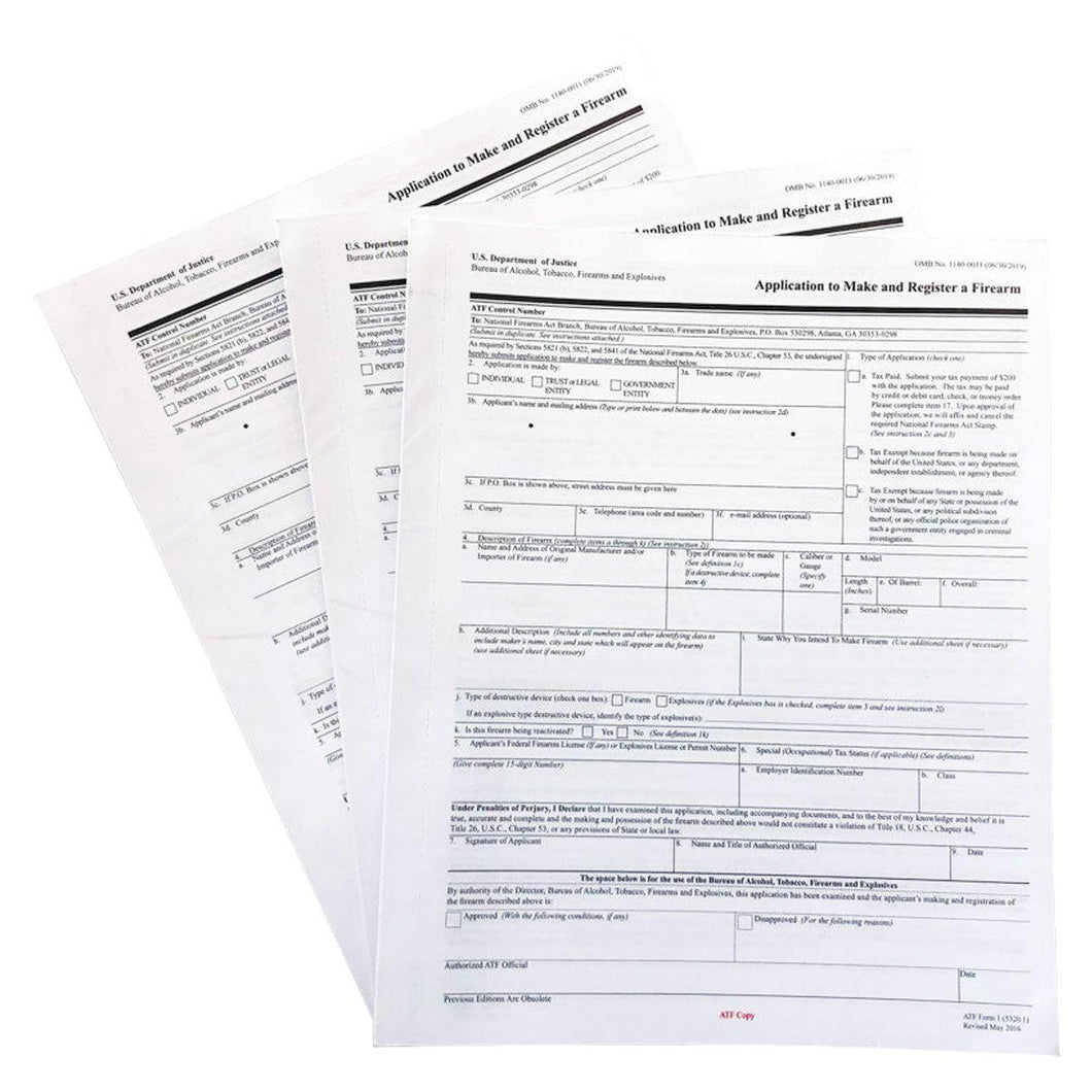 Official ATF Form 5320.1 - ATF Form 1 - Paper Application Form