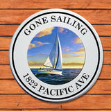 "Welcome Plaque, 11X11 Round, PVC, #01, ""Gone Sailing"""