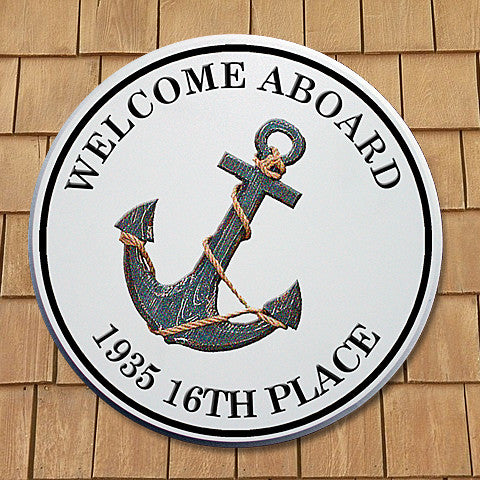 "Welcome Plaque, 11X11 Round, PVC, #07 ""Welcome Aboard"""