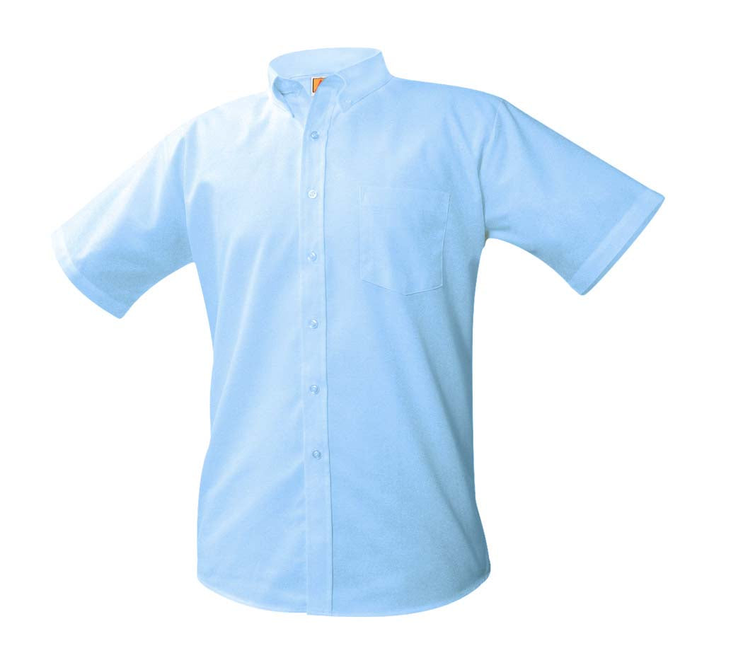 Men's Blue Short-Sleeve Oxford Shirt