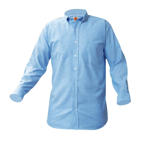 Men's Blue Long-Sleeve Oxford Shirt