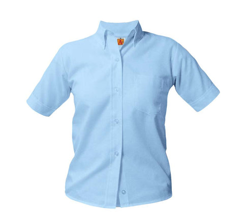 Juniors Blue Short Sleeve Oxford Shirt
