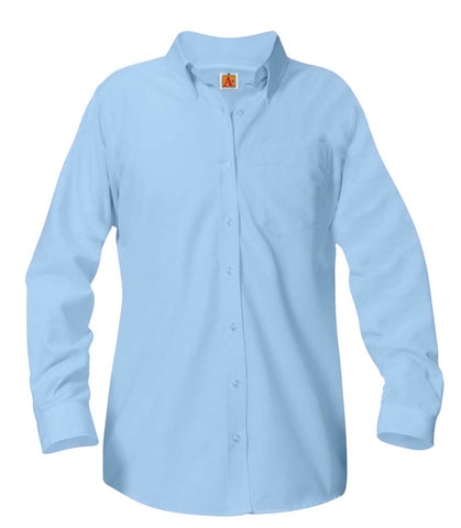 Juniors Blue Long Sleeve Oxford Shirt