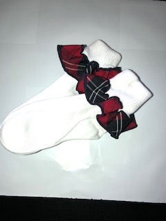 Maple Bear Plaid Trim Ruffled Sock