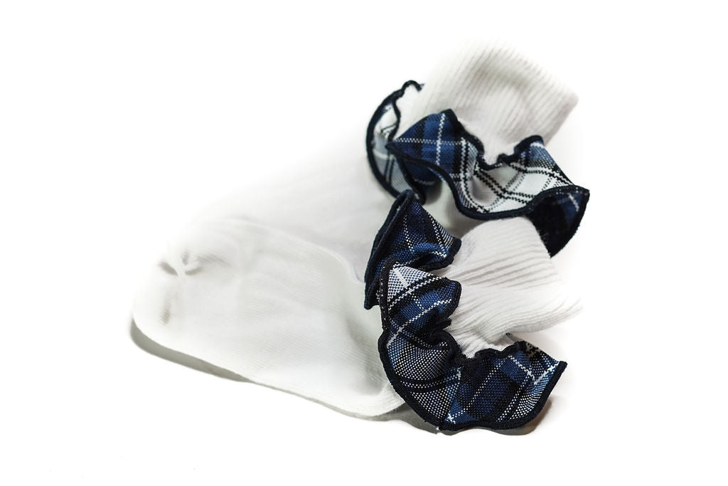 CCA Plaid Trim Ruffled Sock