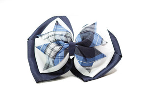 COLLS Large Plaid 3-Layer Bow