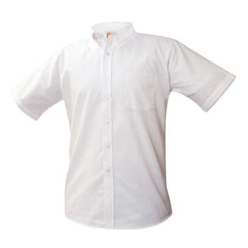 Juniors White Short Sleeve Oxford Shirt