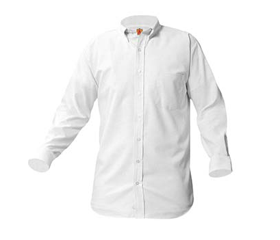 Juniors White Long Sleeve Oxford Shirt