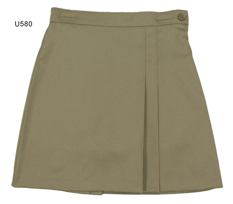 Girl's Front & Back Double-Pleat Twill Skort