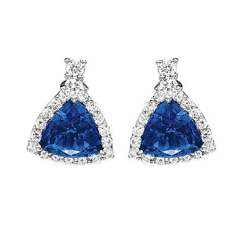 Blue Sapphire Earrings Trillion
