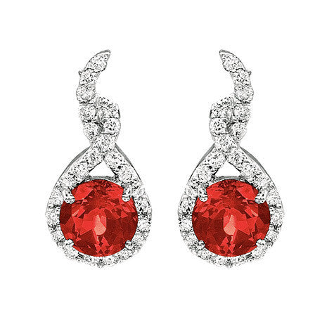 Ruby Earrings Round