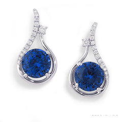Blue Sapphire Earrings Round