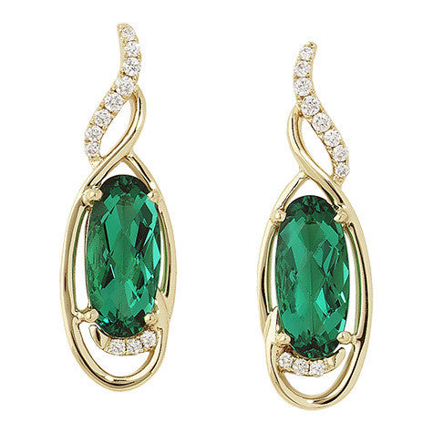 Emerald Earrings Oval