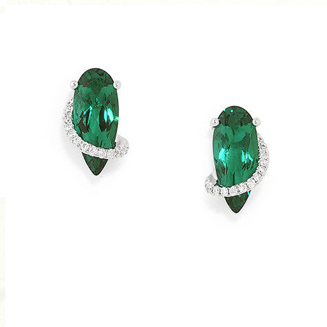 Emerald Earrings Pear