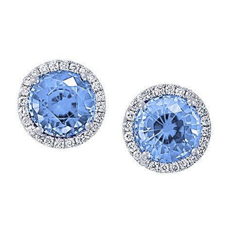 Aqua Blue Spinel Earrings Round