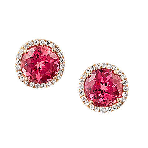 Padparadscha Earrings Round