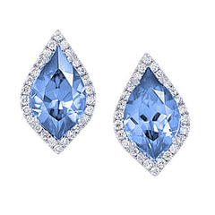 Aqua Blue Spinel Earrings Flame