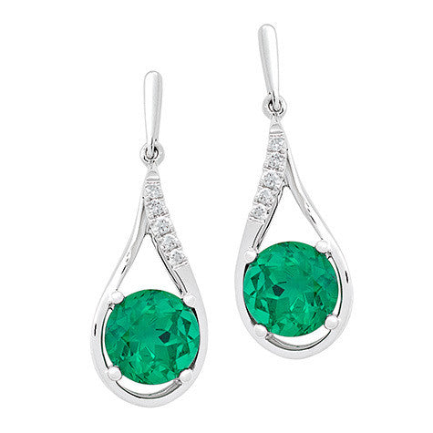 Emerald Earrings Round