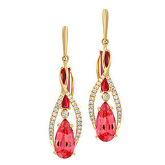 Padparadscha Earrings Pear