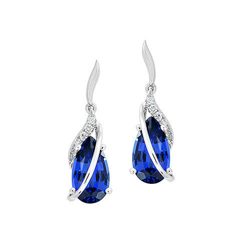 Blue Sapphire Earrings Pear