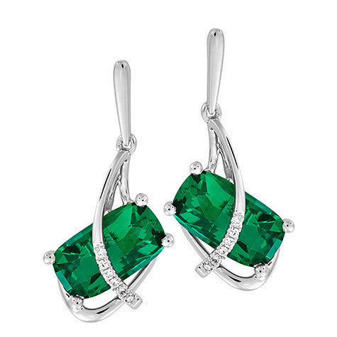 Emerald Earrings Antique Cushion