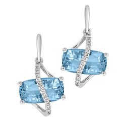 Aqua Blue Spinel Earrings Antique Cushion