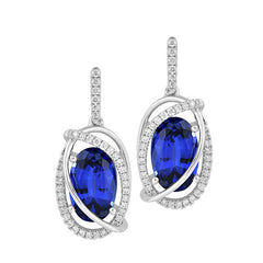 Blue Sapphire Earrings Oval