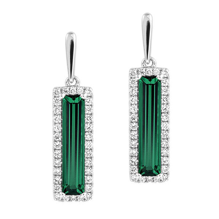 Emerald Earrings Baguette