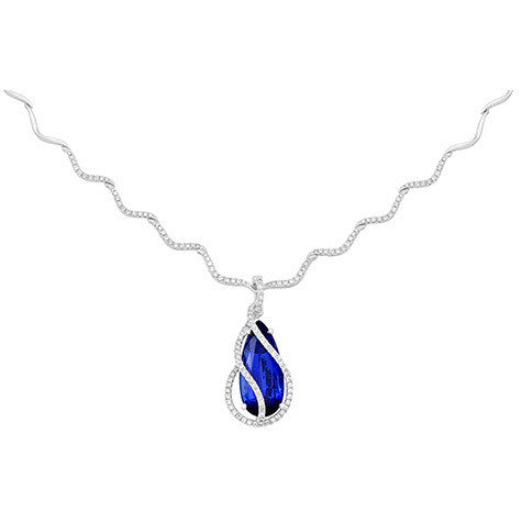 Blue Sapphire Necklace Pear