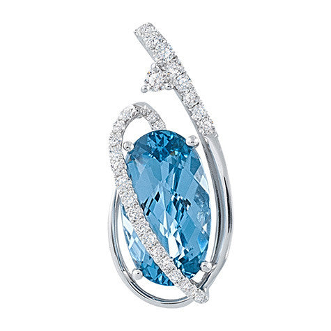 Aqua Blue Spinel Pendant Oval