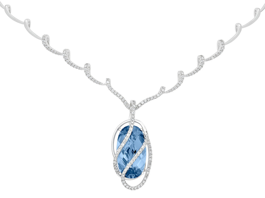 Aqua Blue Spinel Necklace Oval