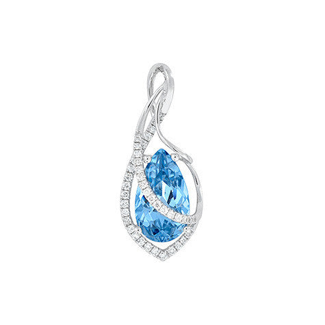 Aqua Blue Spinel Pendant Pear