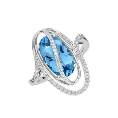 Aqua Blue Spinel Ring Oval