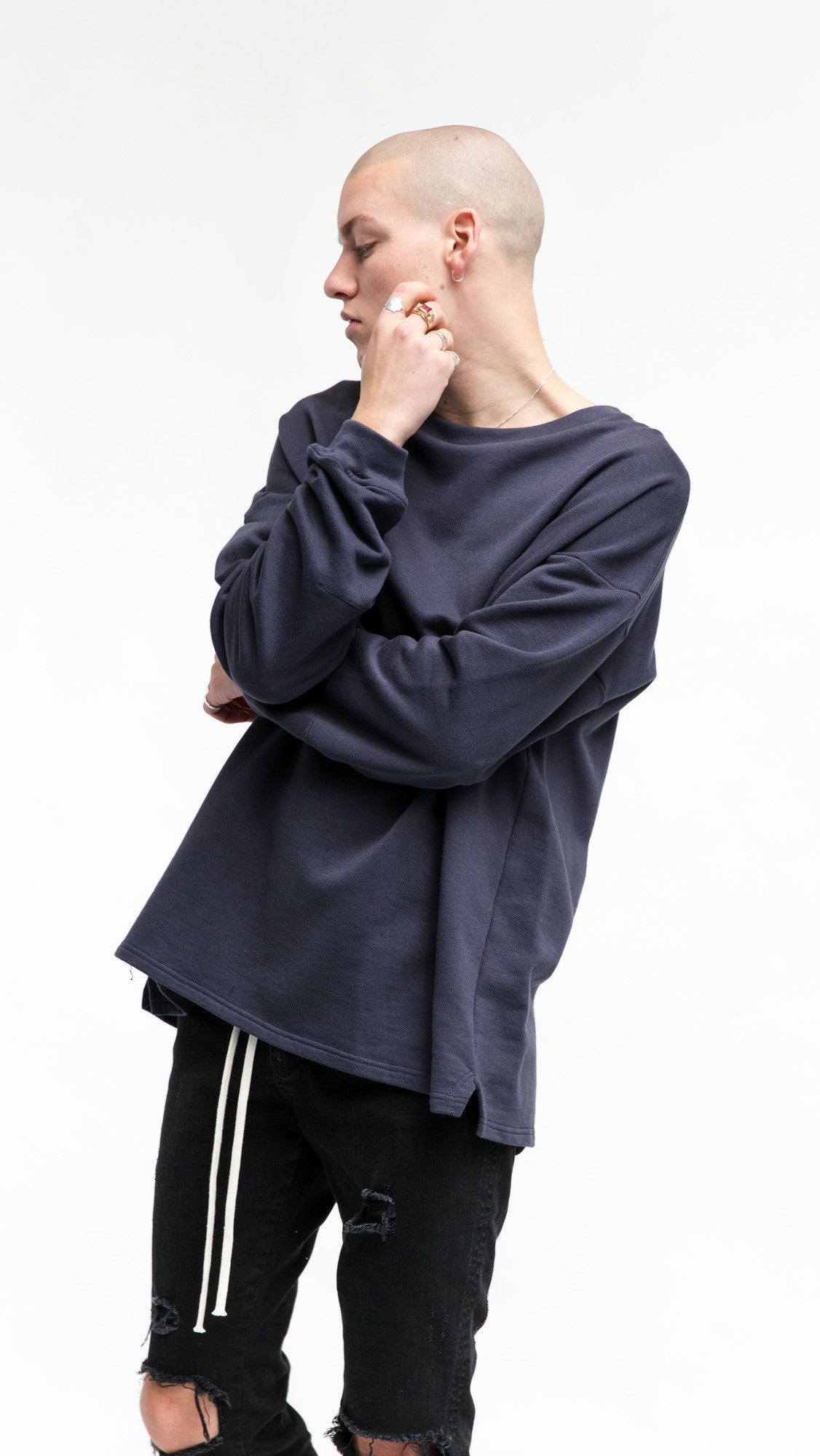 Heavy Long Sleeve Over T-shirt - Navy