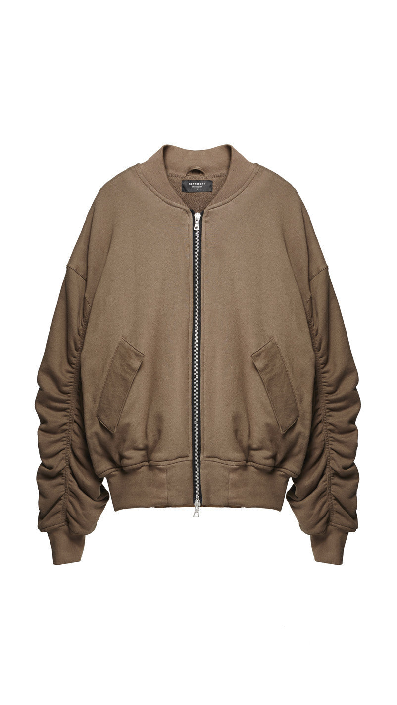 Heavy Cotton Bomber Jacket - Taupe