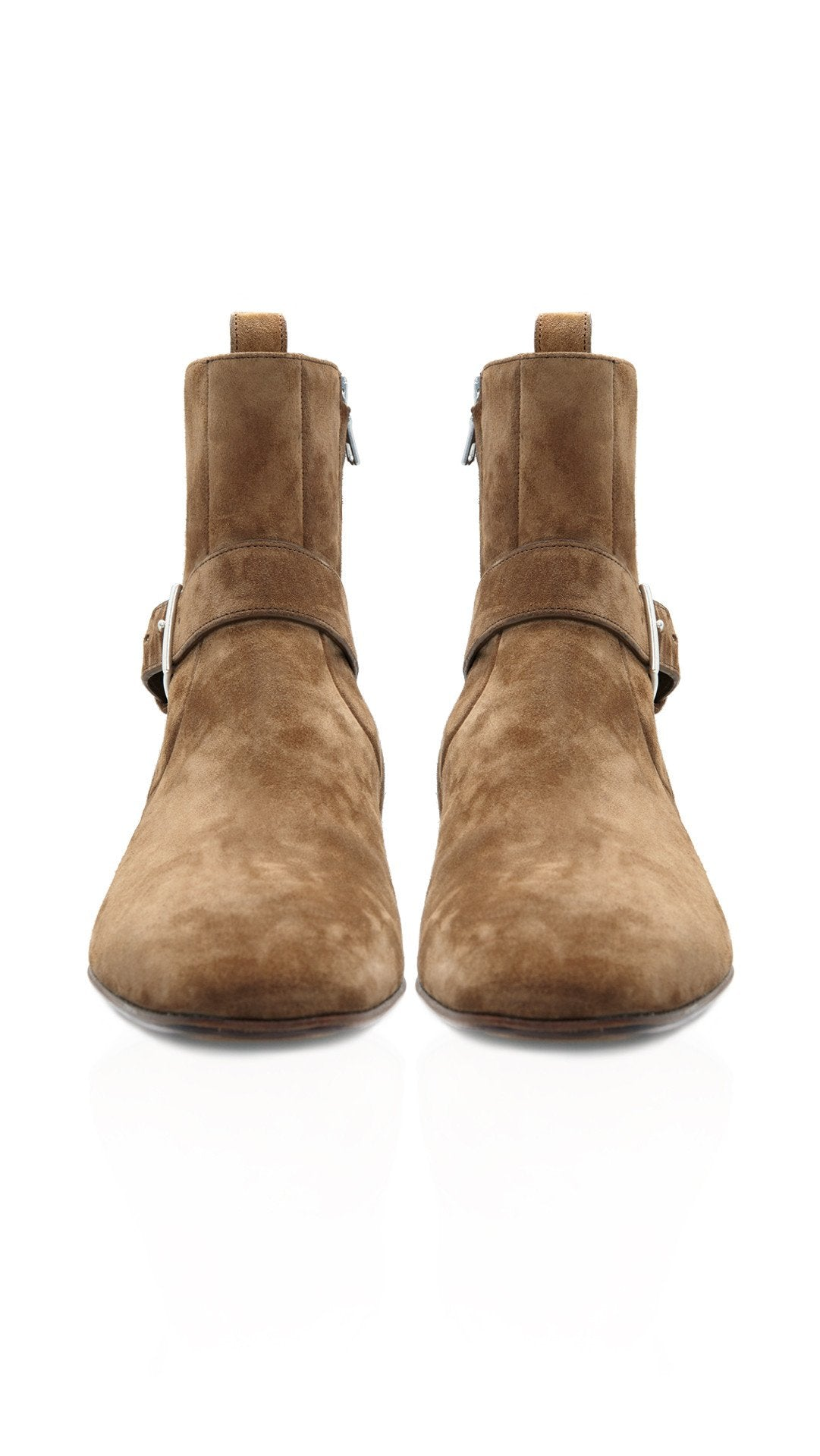 Zipped Strap Boot - Cigaro Suede