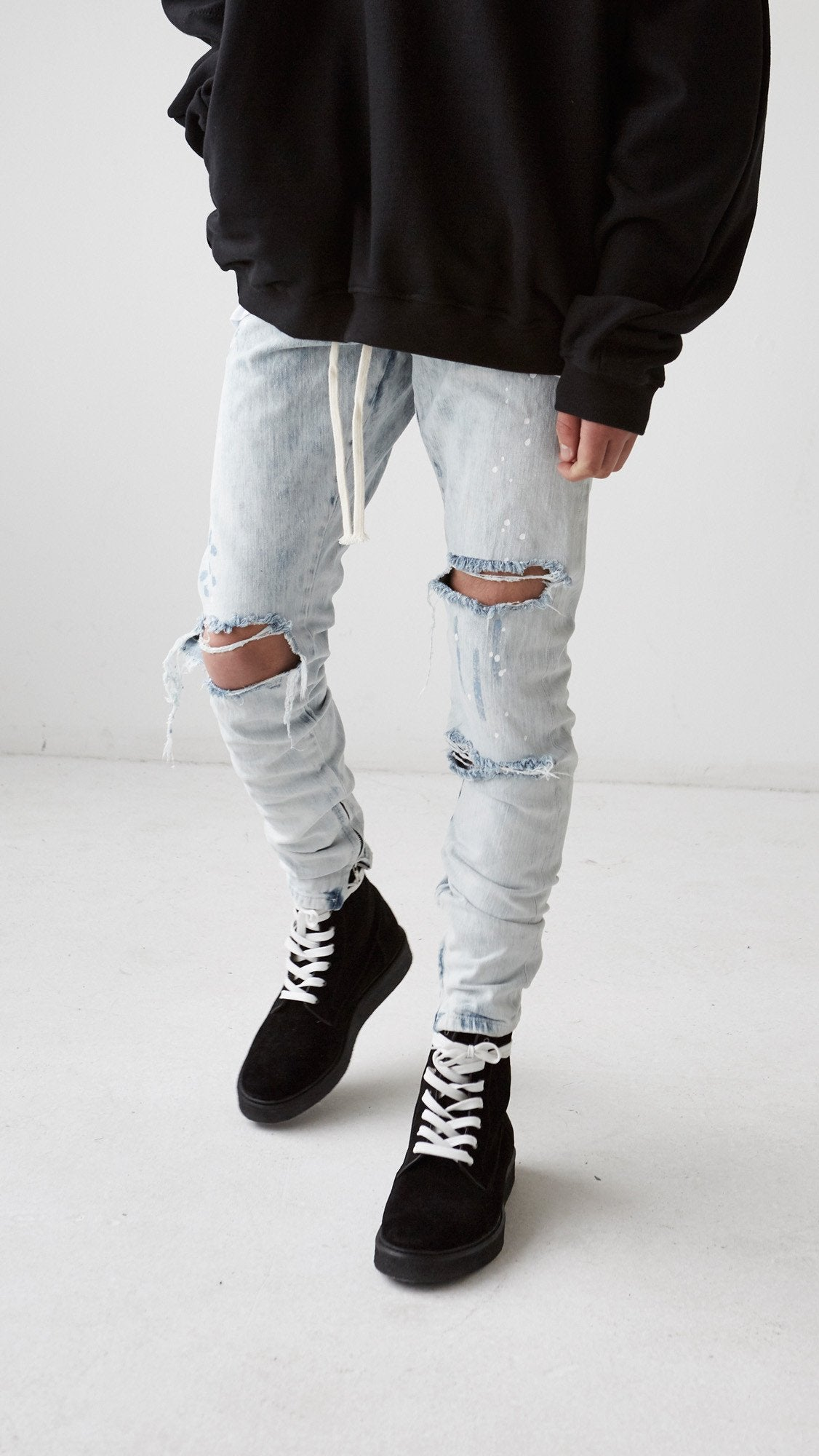 Hand Destroyed Selvedge Denim - Acid