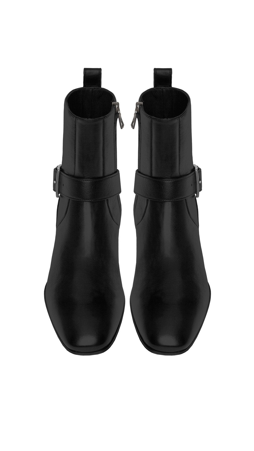 Zipped Strap Boot - Matte Black Leather