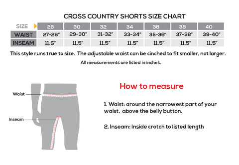 showers pass cross country shorts size chart