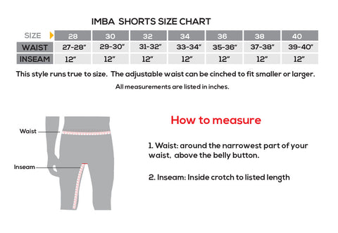 showers pass Imba Shorts Size Chart