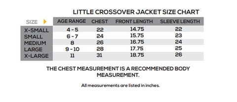 showers pass little crossover size chart