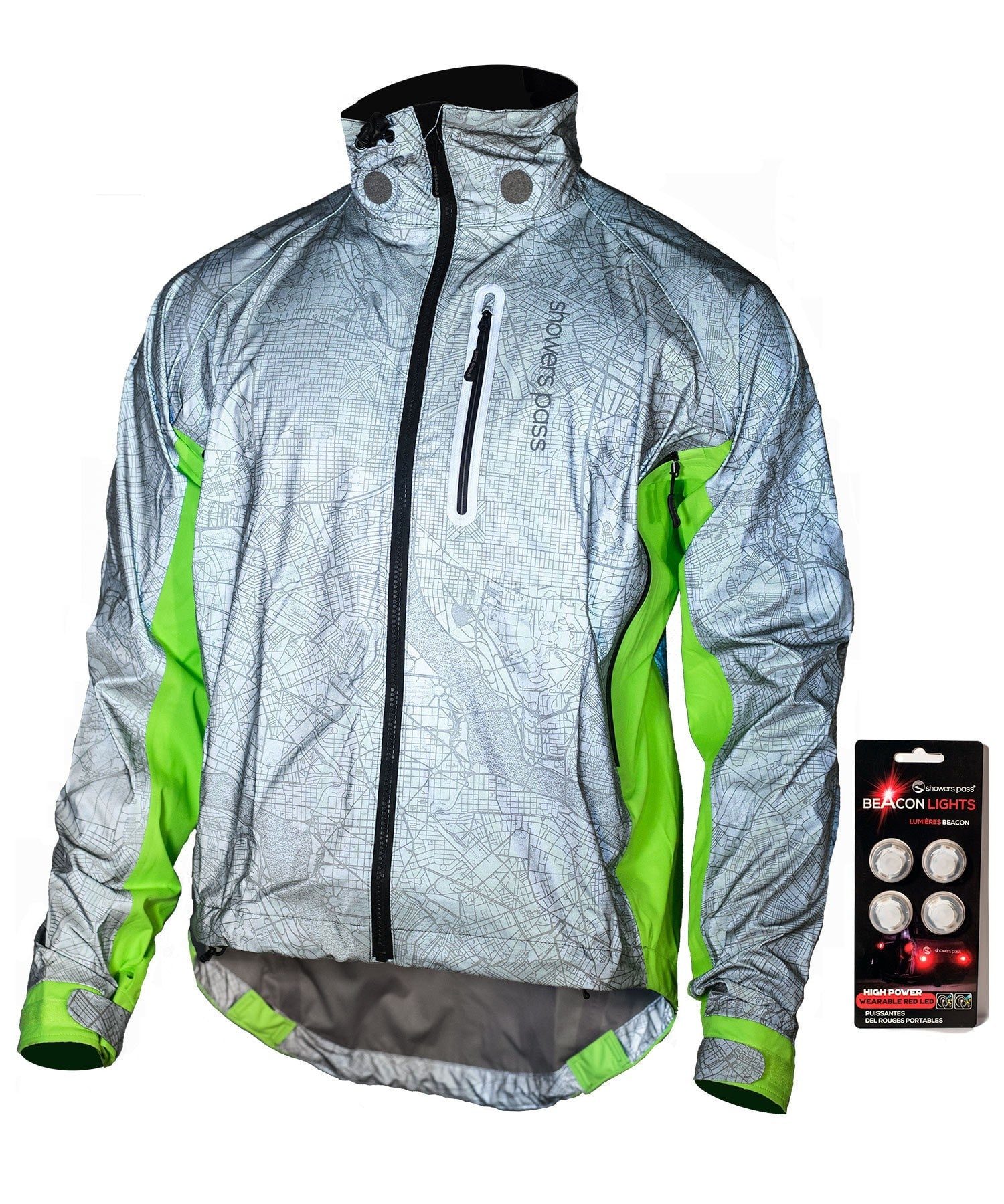 Men's Hi-Vis Torch E-Bike Jacket with Beacon Lights