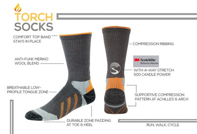 Reflective Torch Socks - Crew Height
