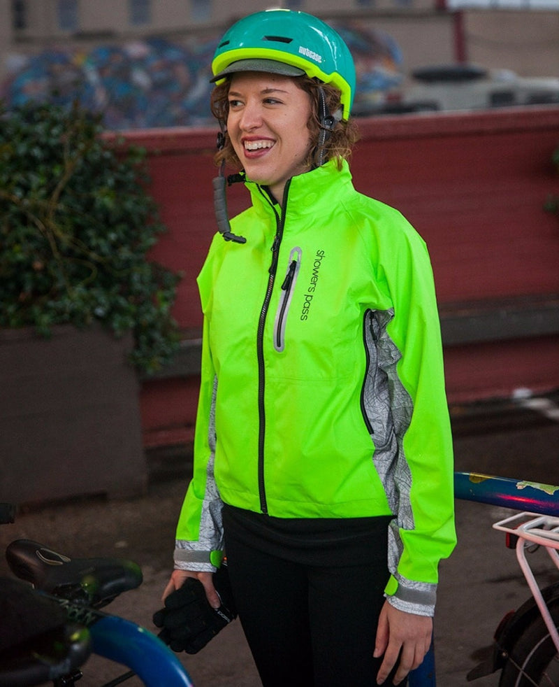 Women's Hi-Vis Elite E-Bike Jacket with Red LED Beacon Lights